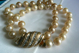Vintage Marvella Double Stand Pearl Faux gold tone crystal clasp Bracele... - $31.20