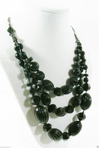 "Three strand beaded Black beads Cascade fashion chain statement Necklace 20"" - $31.20"