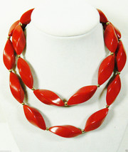 "Trifari  Juicy Red Twist Beads Gold Tone Metal Necklace 30""L - $28.00"