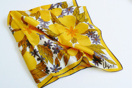 "Vintage Vera Neumann Scarf 1970s 26"" squareYellow floral Polyester - $27.00"