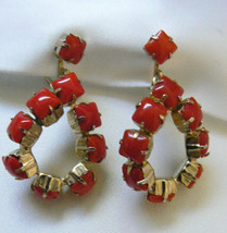 Vintage Gold Tone Red Glass Rhinestone Dangling Teardrop screw clip on Earrings - $31.20