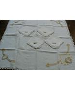 VTG Linen Embroidery Crochet Lace Decor Accent Table Cloth 33x33 & 4 nap... - $48.60