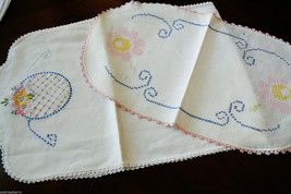 VTG lot of 2 White Cotton linen Table runners Floral  Embroidery one unfinished - $39.00
