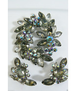 Beau Jewels Borealis Smoky Topaz Rhinestone Brooch & Earring Demi Parure... - $151.20