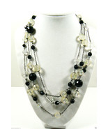 """Black and Clear Iridescent Round Beads link chain necklace 60""""L Multi Style - $23.96"""