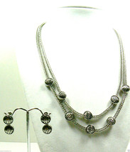 Fashion Silver Tone square Rope two chains Necklace & Earrings Set - $47.20