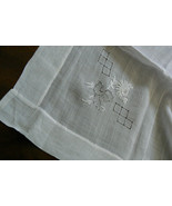 VTG Semi sheer  White Embroidery cut work Decor Accent Table Cloth 38x38 - $48.60