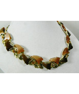 """VINTAGE COCOA & CHOCOLATE THERMOSET SILVER TONE LINK COLLAR NECKLACE 17.25"""" - $71.20"""