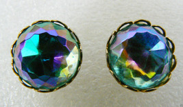 Pretty vintage Blue Round Crystal Gold tone metal stud  Earrings - $16.80