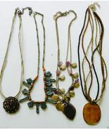 Lot of 4 metal multi style design beadded link chains charm Art glass Ne... - $28.00