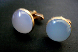 VINTAGE SWANK GOLD TONE METAL MOON STONE COLOR STONE CUFF LINKS - $26.10