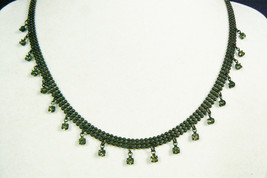"Pretty Mesh metal with crystal rhinestone Charms collar Necklace 16.5""L - $20.00"