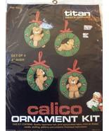 "Titan Needlecraft Calico Ornament Kit Set of 4 Holiday Teddy Bears  4"" H... - $18.00"