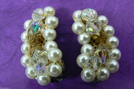 VTG Silver Tone Aurora Borealis Bead Crystal Pearl Faux Cluster clip on Earrings - $55.96