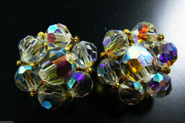Vintage  Aurora Borealis Crystal beads Cluster clip on Earrings gold tone metal - $55.96