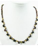 "Genuine Garnet beads charms necklace 20""L 14K GF Spring clasp - $103.20"