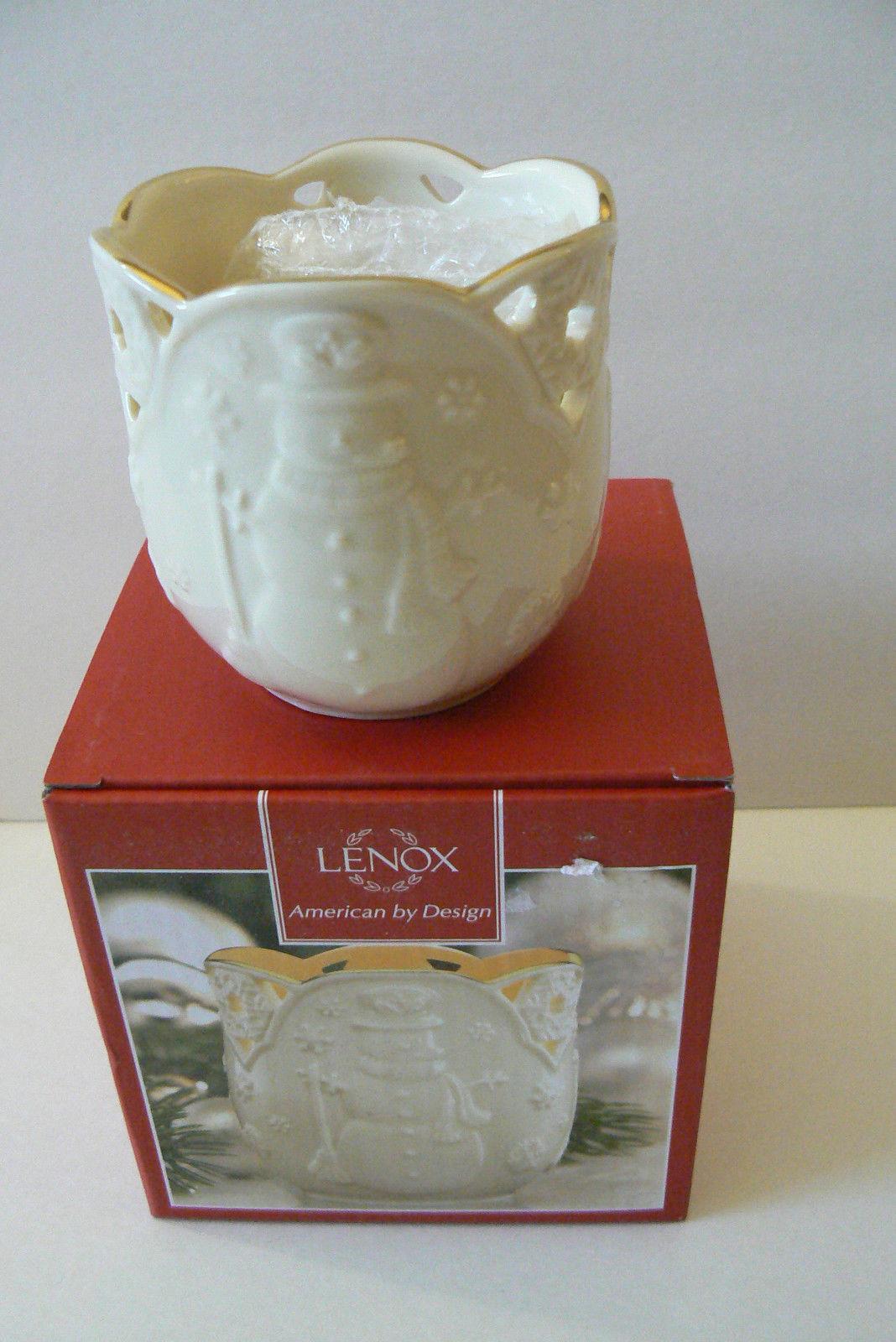 "LENOX Bone China Merry Lights Snowman Votive tea light Candle Holder 3.5"" NIB"
