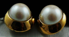 Alexis Kirk Signed Large Gold Tone White Pearl Faux Clip Earrings $0 Sh - $79.20