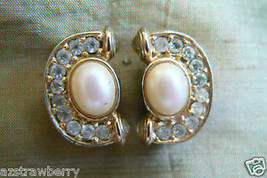 RICHELIEU BRILLIANT CRYSTAL PEARL FAUX CLIP EARRINGS - $31.20