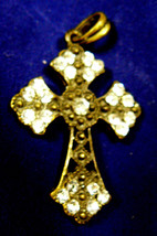 Beautiful Fashion dark Bronze Tone Metal Filigree Clear Crystal Cross Pe... - $25.00