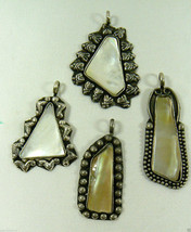 Vintage Lot of 4 White Mother of Pearl Silver Tone Metal Fashion Pendant... - $39.00