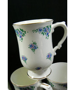 Royal Victoria made in England Bone China Blue Pansies Tea Cup Mug Set of 6 - $89.00