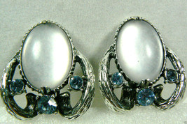 Designer Selro Corp Signed Silver Tone Metal Blue Crystal Clip On  Earrings - $92.00