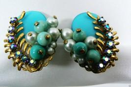 Vintage Blue Borealis Rhinestones Pearl Faux Oval Clip Earrings - $28.79