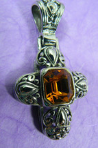 Fashion Large Silver Tone Filigree Topaz Crystal Cross Pendant - $35.00