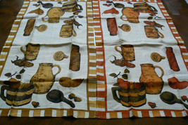 Vintage Lot of 2  Linen Country  Kitchen Towel - $35.00