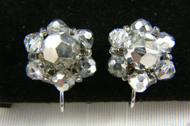 SILVER TONE METAL ROUND CRYSTAL BEADS FLOWER CLIP EARRINGS $0 sh - $31.96