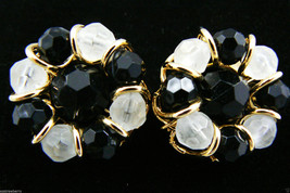 Gold Tone metal Black & Frosted  White cluster glass beaded round Clips ... - $31.96