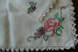 "VTG White Cotton linen Table runner Floral  Embroidery Cutout Floral 19"" x 43"" - $45.00"