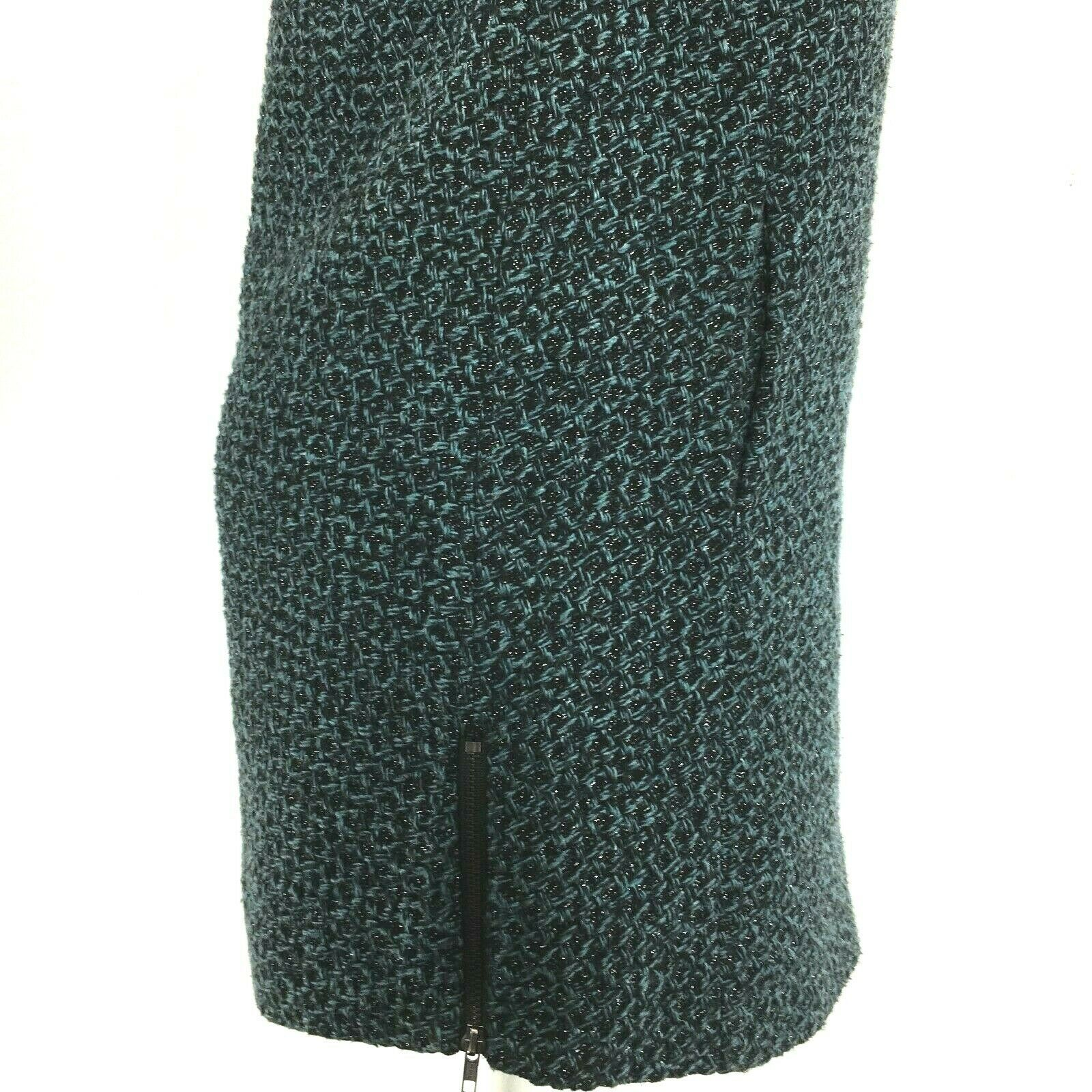 BCBG Generation Large Dress Legging Tunic Black Teal Metallic Tweed Pocket Zip