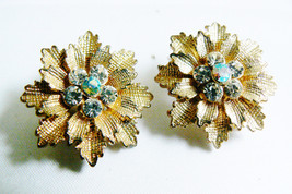 VTG gold tone Festive color crystal Rhinestones flower clip earrings - $28.00