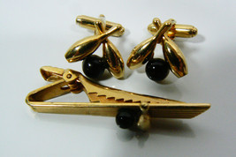 VINTAGE ANSON GOLD TONE BLACK BOWLING CUFF LINKS & TIE BAR CLASP PIN SET - $35.10