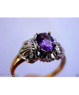 .75 CTW OVAL CUT AMETHYST & DIAMOND 10K GOLD RING SZ 6.5 NWT - $263.20
