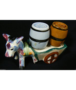 VINTAGE JAPAN Signed DONKEY SALT & PEPPER SHAKERS - $31.20