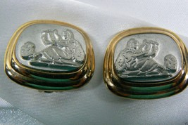 Gold & Silver Tone Roman or Greek Goddes Music Scene Clip on Earrings - $28.00