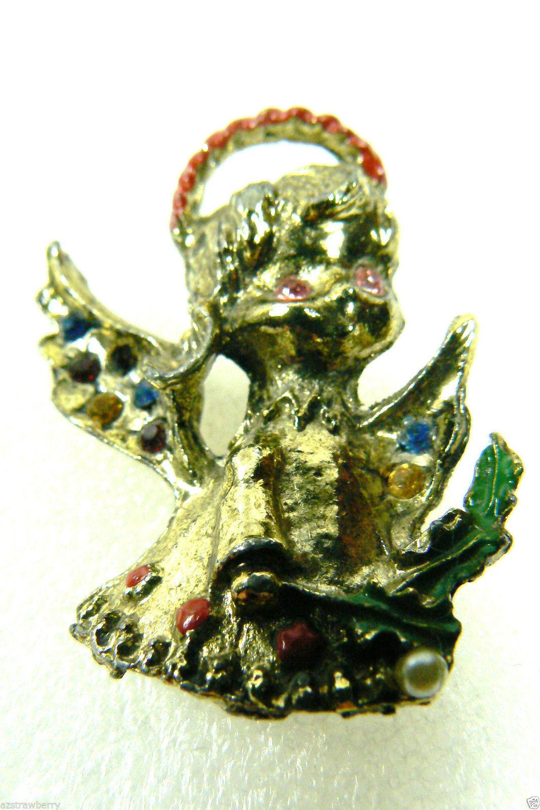 Vintage Gold Tone Metal Enamel Pearl Faux Multi Color ...