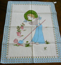 Vintage Linen Young Girl Gardener Straw Hat Flowers Pots White & Blue Towel - $30.00