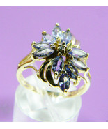14k yellow gold Violet Blue Tanzanite Marquise Cut & Diamond Flower Ring... - $639.20