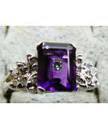 1.5 CTW GENUINE EMERALD CUT PURPLE AMETHYST & DIAMOND14K WHITE GOLD RING... - $519.20