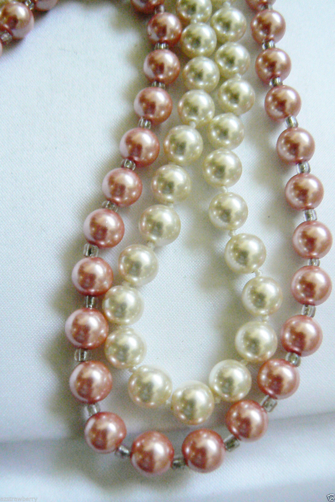 "Lot of 2 White & Pink pearl faux 9 mm necklaces 19"" & 18"" L - $28.00"