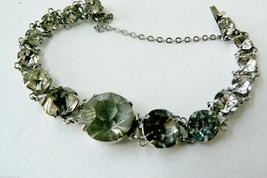 Vintage silver tone metal brilliant round cut Clear Rhinestone Bracelet ... - $31.20