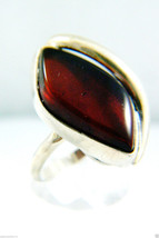 VINTAGE SILVER PLATE COGNAC AMBER WAVE RING SIZE 8.5 - €32,91 EUR