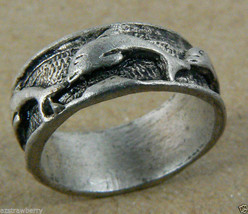 Silver tone Pewter Dolphin ring band sz 6 - $19.00