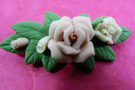 Hand Crafted Porcelain Fose Flower Bar Pin Brooch - $30.00