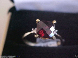 18 K Yellow Gold 1.5 ctw Checkered Garned Diamond  Ring sz 6.5 NWT - $280.00