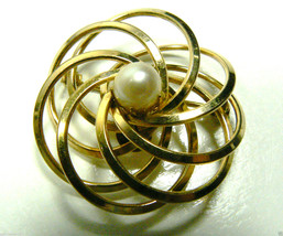 H.G. 1/20 12KT GF WHITE PEARL FAUX ROUND PIN BROOCH - $49.95